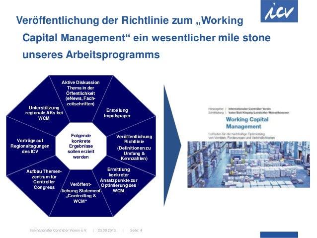 """23.09.2013.  Internationaler Controller Verein e.V.   Seite: 4 Veröffentlichung der Richtlinie zum """"Working Capital Manage..."""