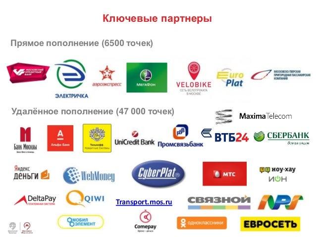 ‹#› Ключевые партнеры Прямое пополнение (6500 точек) Удалённое пополнение (47 000 точек) Transport.mos.ru