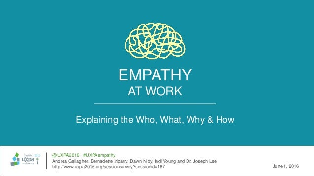 EMPATHY AT WORK Explaining the Who, What, Why & How @UXPA2016 #UXPAempathy Andrea Gallagher, Bernadette Irizarry, Dawn Nid...