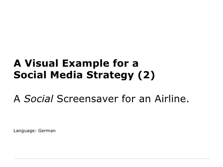 A Visual Example for a Social Media Strategy (2) A  Social  Screensaver for an Airline. Language: German
