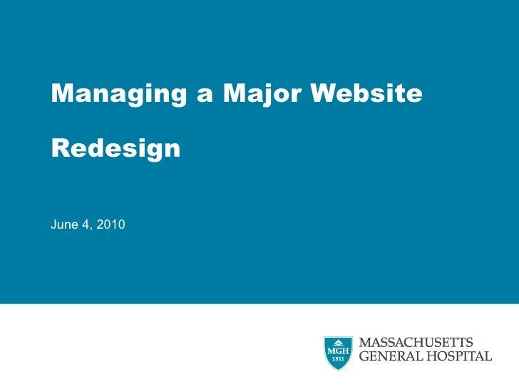 Managing a Major Website Redesign June 4, 2010