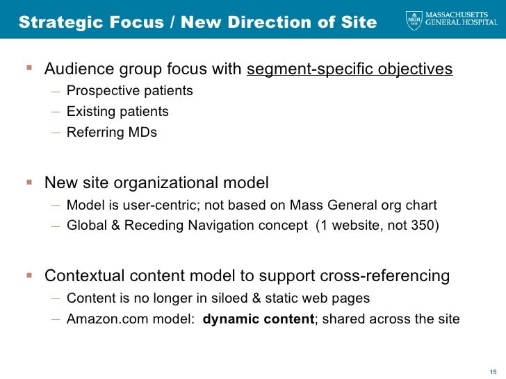 Strategic Focus / New Direction of Site <ul><li>Audience group focus with  segment-specific objectives </li></ul><ul><ul><...