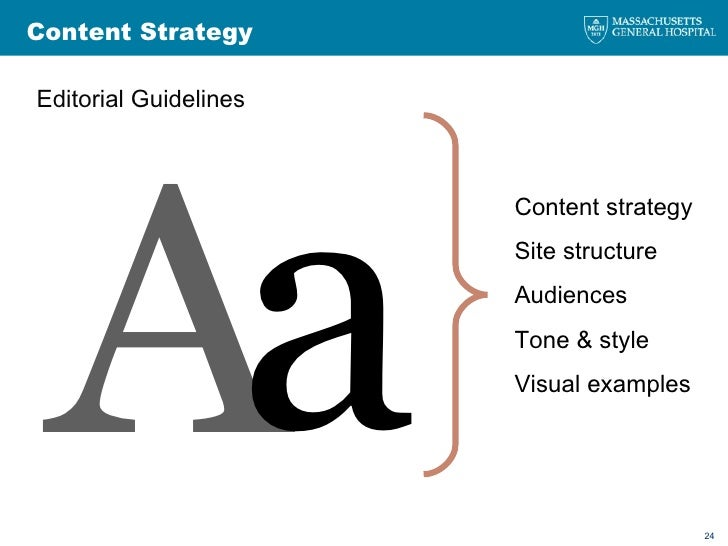 <ul><li>Editorial Guidelines </li></ul>Content Strategy A a Content strategy Site structure Audiences Tone & style Visual ...