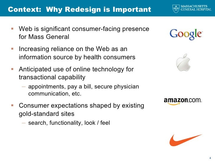 Context:  Why Redesign is Important <ul><li>Web is significant consumer-facing presence for Mass General </li></ul><ul><li...