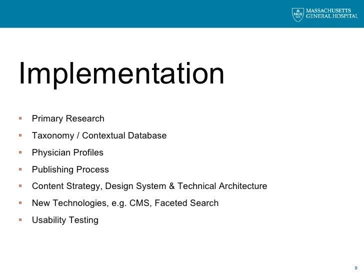 <ul><li>Implementation </li></ul><ul><li>Primary Research </li></ul><ul><li>Taxonomy / Contextual Database </li></ul><ul><...