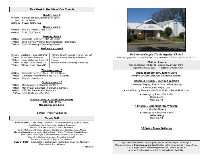 This Week in the Life of Our Church                            Sunday, June 6  9:45am Sunday School Classes for all ages 1...