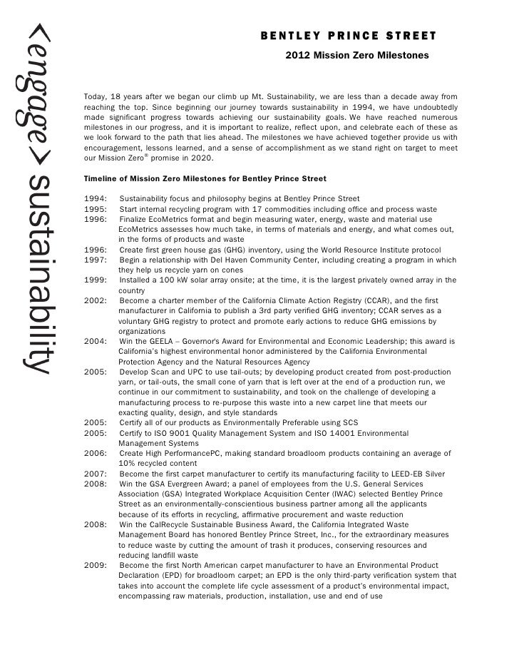 !                                                         2012 Mission Zero Milestones!Today, 18 years after we began our ...