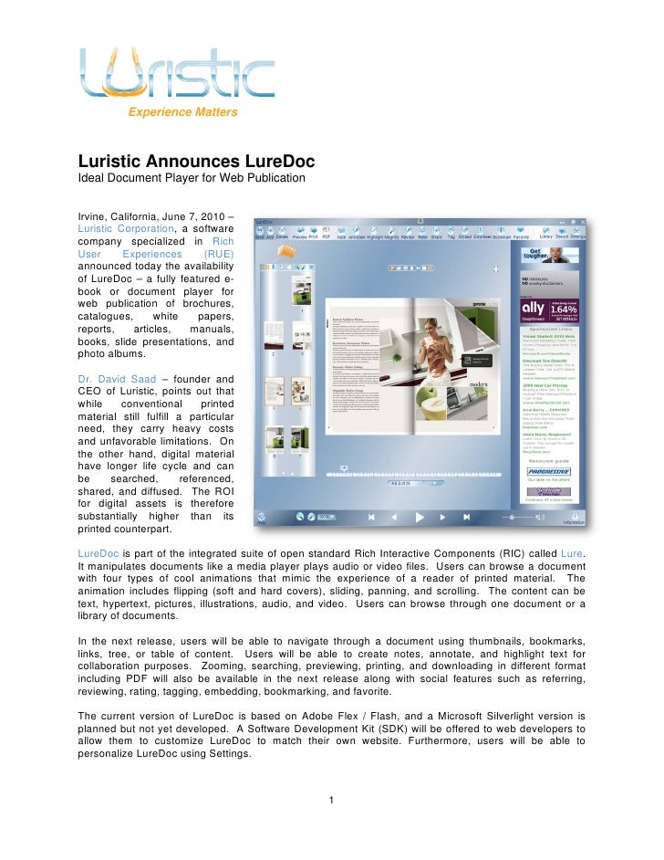 Experience Matters    Luristic Announces LureDoc Ideal Document Player for Web Publication   Irvine, California, June 7, 2...