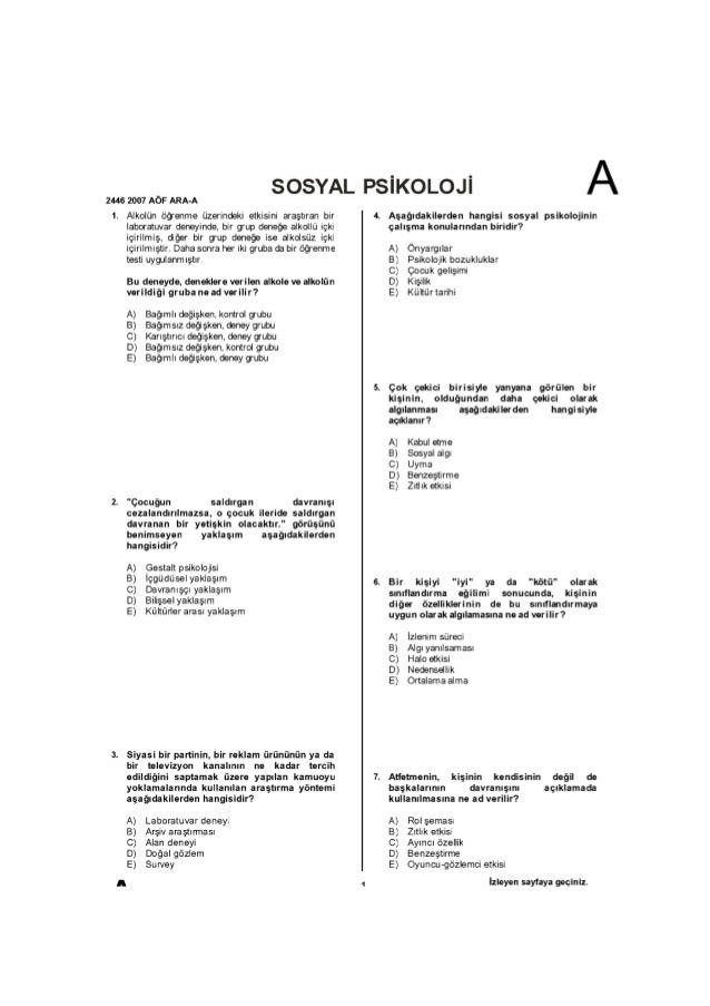 2006-2007 -Sosyal Psikoloji - Vize Soruları