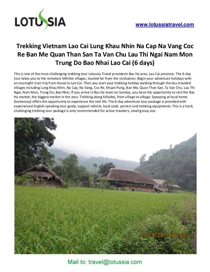 www.lotussiatravel.com Trekking Vietnam Lao Cai Lung Khau Nhin Na Cap Na Vang Coc Re Ban Me Quan Than San Ta Van Chu Lau T...