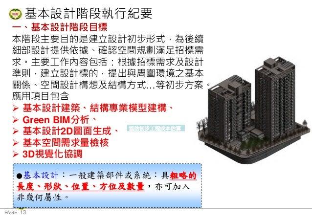 PAGE 13 桃 園 市 政 府 住 宅 發 展 處 基本設計階段執行紀要 一、基本設計階段目標 本階段主要目的是建立設計初步形式,為後續 細部設計提供依據、確認空間規劃滿足招標需 求。主要工作內容包括:根據招標需求及設計 準則,建立設計標的...