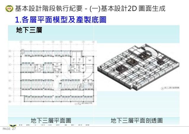 PAGE 27 桃 園 市 政 府 住 宅 發 展 處 基本設計階段執行紀要-(一)基本設計2D 圖面生成 1.各層平面模型及產製底圖 地下三層 地下三層平面圖 地下三層平面剖透圖