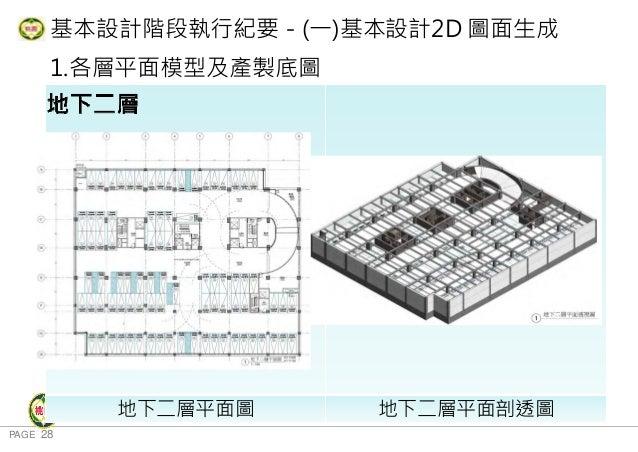 PAGE 28 桃 園 市 政 府 住 宅 發 展 處 基本設計階段執行紀要-(一)基本設計2D 圖面生成 1.各層平面模型及產製底圖 地下三層 地下二層平面圖 地下二層平面剖透圖