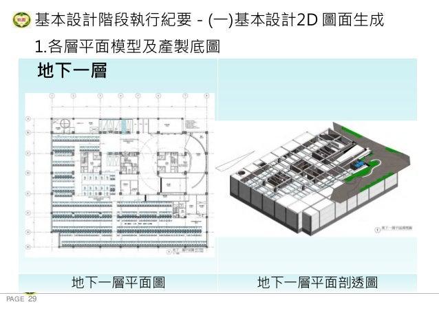 PAGE 29 桃 園 市 政 府 住 宅 發 展 處 基本設計階段執行紀要-(一)基本設計2D 圖面生成 1.各層平面模型及產製底圖 地下三層 地下一層平面圖 地下一層平面剖透圖 地下一層