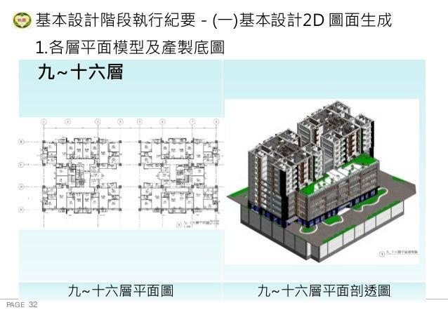 PAGE 32 桃 園 市 政 府 住 宅 發 展 處 基本設計階段執行紀要-(一)基本設計2D 圖面生成 1.各層平面模型及產製底圖 地下三層 九~十六層平面圖 九~十六層平面剖透圖 九~十六層