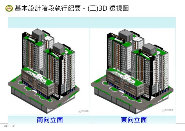PAGE 33 桃 園 市 政 府 住 宅 發 展 處 基本設計階段執行紀要-(二)3D 透視圖 地下三層 南向立面 東向立面