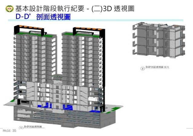 PAGE 35 桃 園 市 政 府 住 宅 發 展 處 基本設計階段執行紀要-(二)3D 透視圖 地下三層 D-D'剖面透視圖