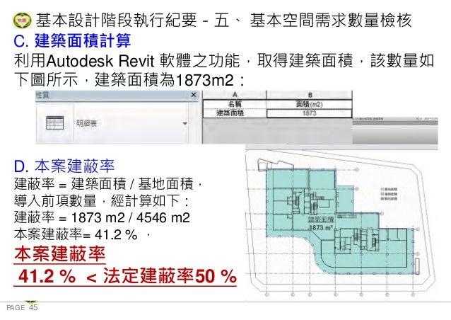 PAGE 45 桃 園 市 政 府 住 宅 發 展 處 C. 建築面積計算 利用Autodesk Revit 軟體之功能,取得建築面積,該數量如 下圖所示,建築面積為1873m2: D. 本案建蔽率 建蔽率 = 建築面積 / 基地面積, 導入前...