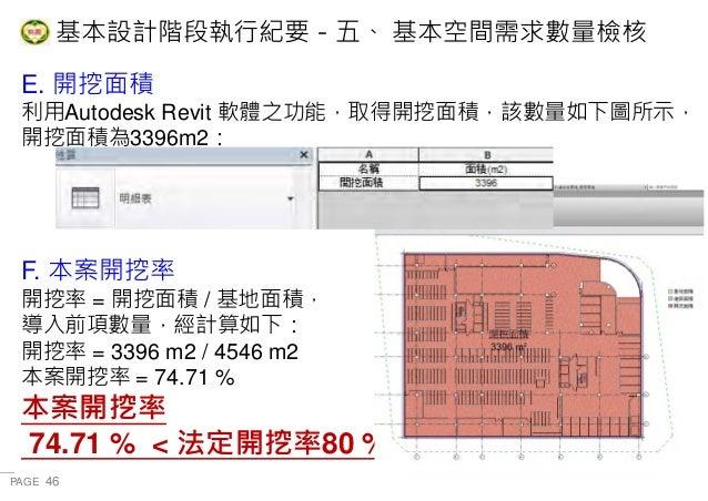 PAGE 46 桃 園 市 政 府 住 宅 發 展 處 E. 開挖面積 利用Autodesk Revit 軟體之功能,取得開挖面積,該數量如下圖所示, 開挖面積為3396m2: F. 本案開挖率 開挖率 = 開挖面積 / 基地面積, 導入前項數...