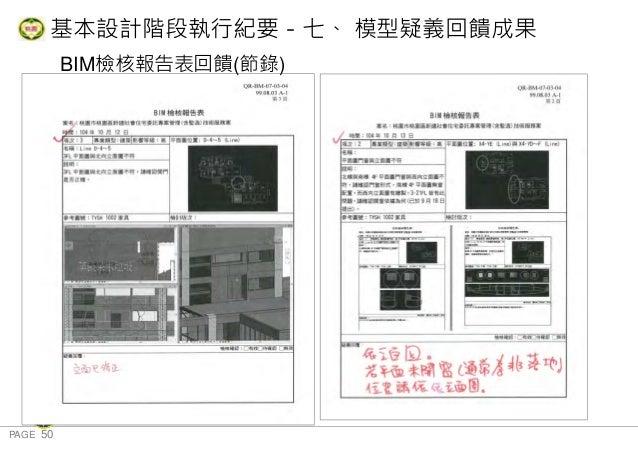 PAGE 50 桃 園 市 政 府 住 宅 發 展 處 BIM檢核報告表回饋(節錄) 基本設計階段執行紀要-七、 模型疑義回饋成果