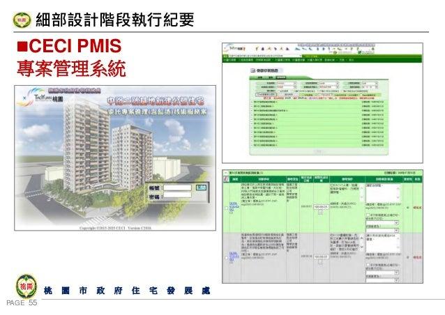 PAGE 55 桃 園 市 政 府 住 宅 發 展 處 CECI PMIS 專案管理系統 細部設計階段執行紀要