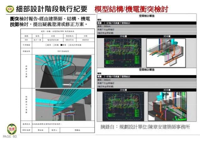 PAGE 60 桃 園 市 政 府 住 宅 發 展 處 細部設計階段執行紀要 模型結構/機電衝突檢討 衝突檢討報告-經由建築師、結構、機電 技師檢討,提出疑義澄清或修正方案。