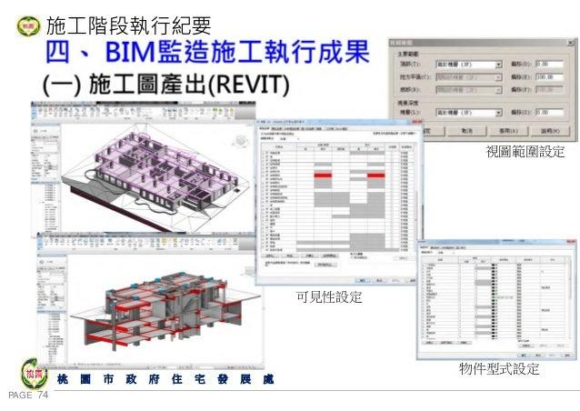 PAGE 74 桃 園 市 政 府 住 宅 發 展 處 施工階段執行紀要 四、 BIM監造施工執行成果 (一) 施工圖產出(REVIT) 視圖範圍設定 可見性設定 物件型式設定