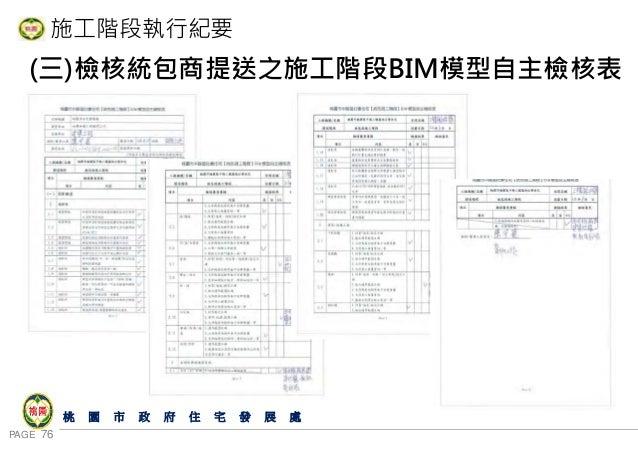 PAGE 76 桃 園 市 政 府 住 宅 發 展 處 施工階段執行紀要 (三)檢核統包商提送之施工階段BIM模型自主檢核表