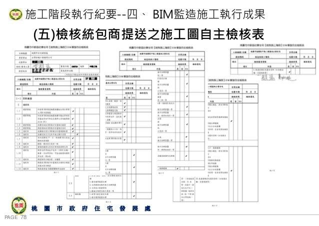 PAGE 78 桃 園 市 政 府 住 宅 發 展 處 施工階段執行紀要--四、 BIM監造施工執行成果 (五)檢核統包商提送之施工圖自主檢核表