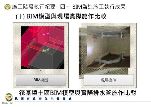 PAGE 83 桃 園 市 政 府 住 宅 發 展 處 施工階段執行紀要--四、 BIM監造施工執行成果 (十) BIM模型與現場實際施作比較 筏基填土區BIM模型與實際排水管施作比對 BIM模型 1 現場查核 2