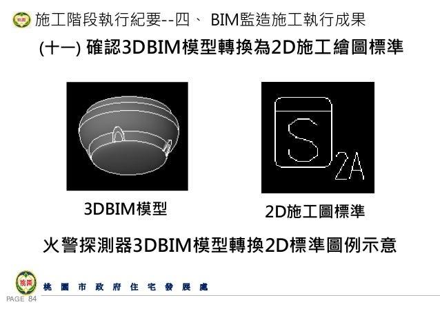 PAGE 84 桃 園 市 政 府 住 宅 發 展 處 施工階段執行紀要--四、 BIM監造施工執行成果 (十一) 確認3DBIM模型轉換為2D施工繪圖標準 火警探測器3DBIM模型轉換2D標準圖例示意 3DBIM模型 2D施工圖標準