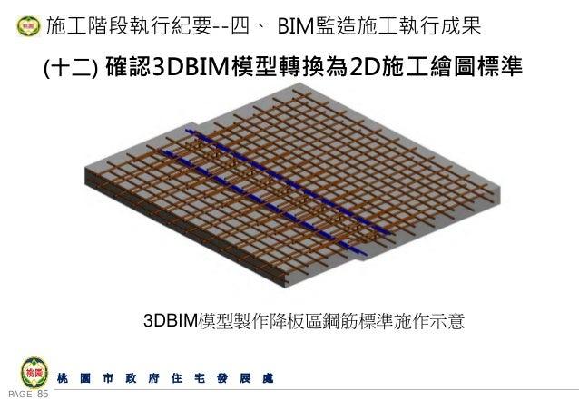 PAGE 85 桃 園 市 政 府 住 宅 發 展 處 施工階段執行紀要--四、 BIM監造施工執行成果 (十二) 確認3DBIM模型轉換為2D施工繪圖標準 3DBIM模型製作降板區鋼筋標準施作示意