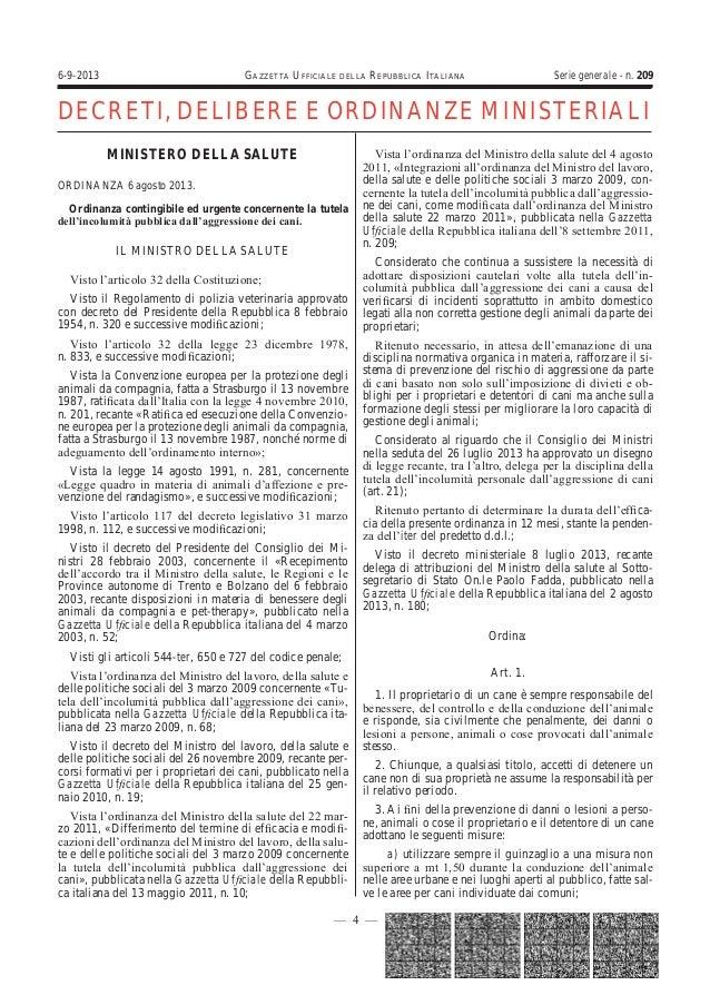 6-9-2013  GAZZETTA UFFICIALE  DELLA  REPUBBLICA ITALIANA  Serie generale - n. 209  DECRETI, DELIBERE E ORDINANZE MINISTERI...