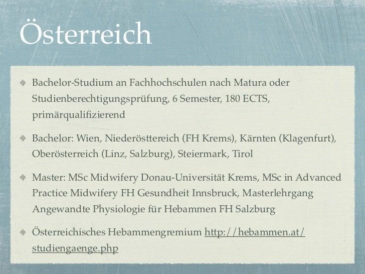 ÖsterreichBachelor-Studium an Fachhochschulen nach Matura oderStudienberechtigungsprüfung, 6 Semester, 180 ECTS,primärqual...