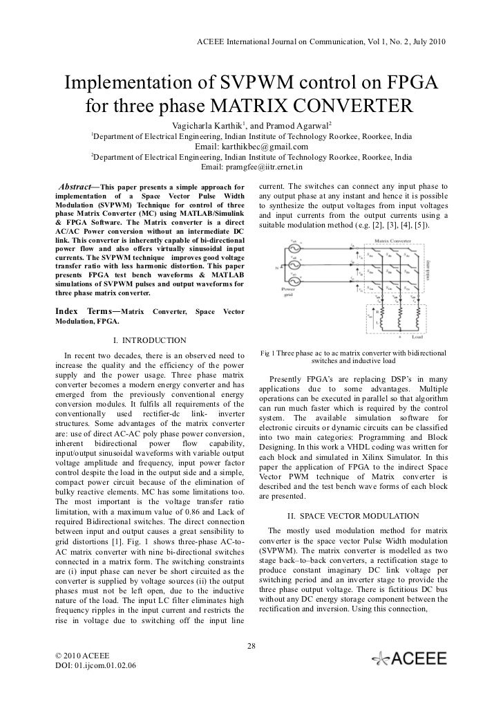 ACEEE International Journal on Communication, Vol 1, No. 2, July 2010  Implementation of SVPWM control on FPGA    for thre...