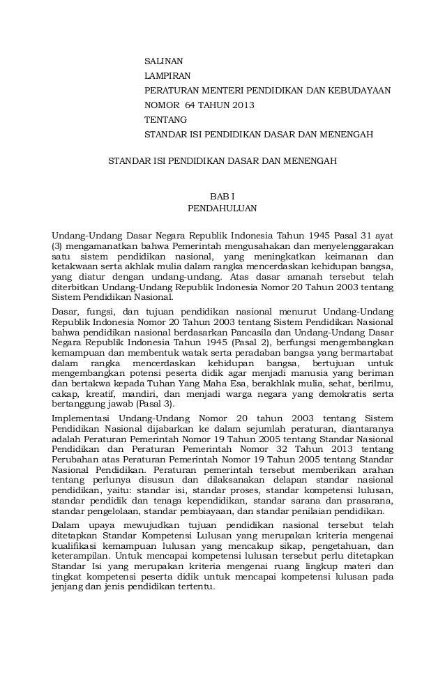 SALINAN LAMPIRAN PERATURAN MENTERI PENDIDIKAN DAN KEBUDAYAAN NOMOR 64 TAHUN 2013 TENTANG STANDAR ISI PENDIDIKAN DASAR DAN ...