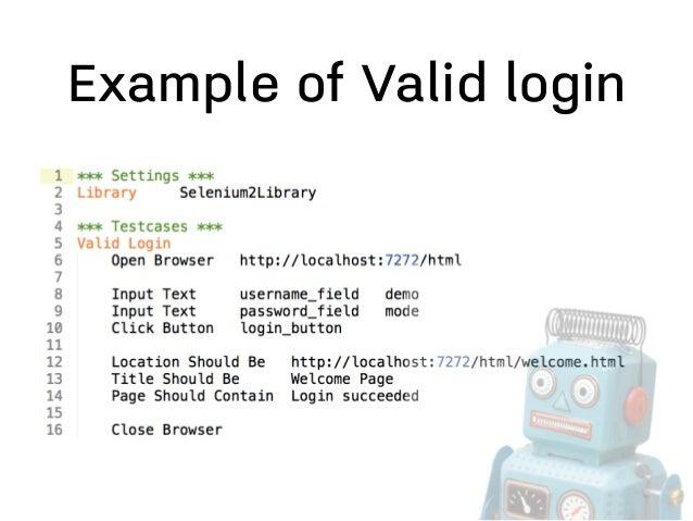 Robot Framework :: Demo login application