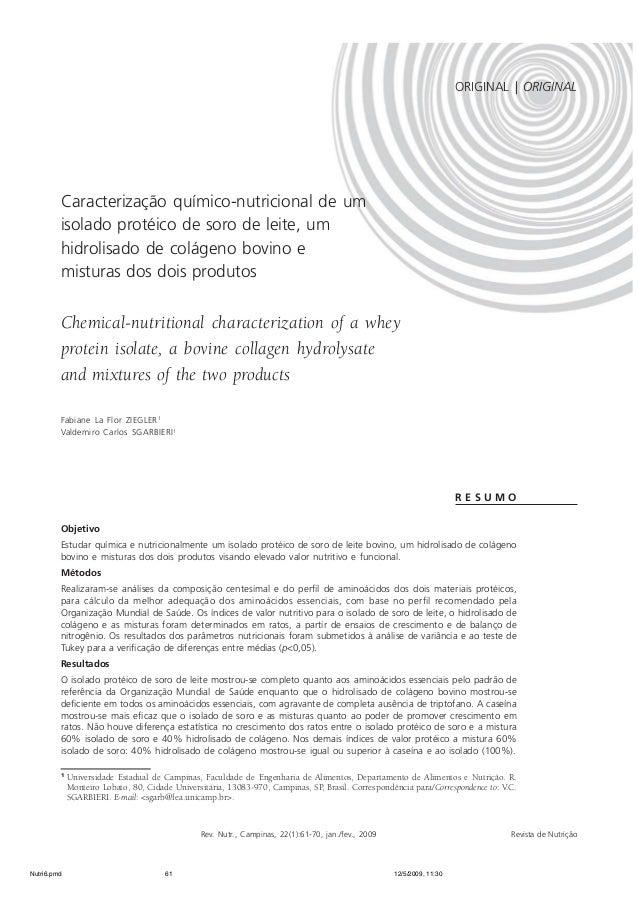 ORIGINAL | ORIGINAL  MISTURAS DE PROTEÍNAS DE SORO LÁCTEO E COLÁGENO | 61  Caracterização químico-nutricional de um  isola...