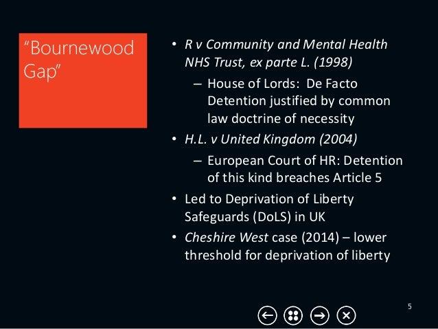"5 ""Bournewood Gap"" • R v Community and Mental Health NHS Trust, ex parte L. (1998) – House of Lords: De Facto Detention ju..."