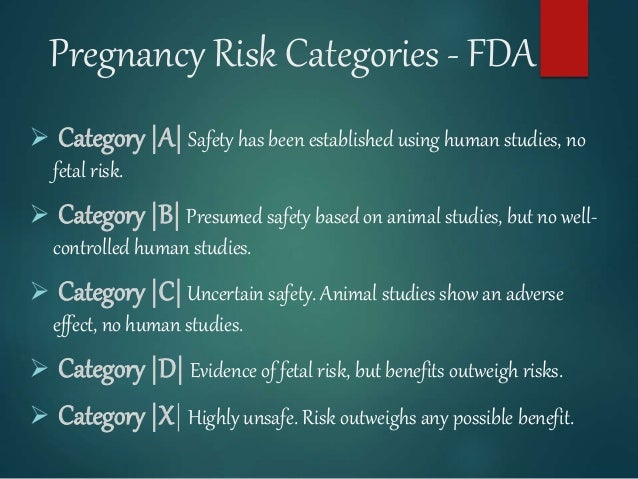 Pregnancy Risk Categories - FDA  Category |A| Safety has been established using human studies, no fetal risk.  Category ...