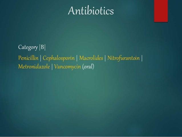Antibiotics Category |B| Penicillin | Cephalosporin | Macrolides | Nitrofurantoin | Metronidazole | Vancomycin (oral)
