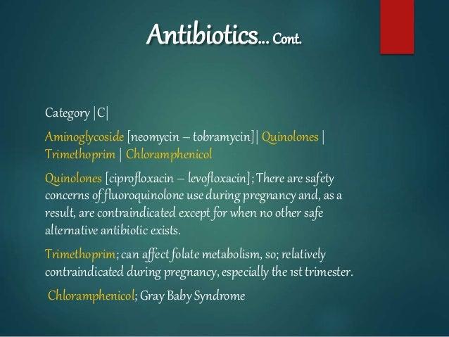 Antibiotics… Cont. Category |C| Aminoglycoside [neomycin – tobramycin]| Quinolones | Trimethoprim | Chloramphenicol Quinol...