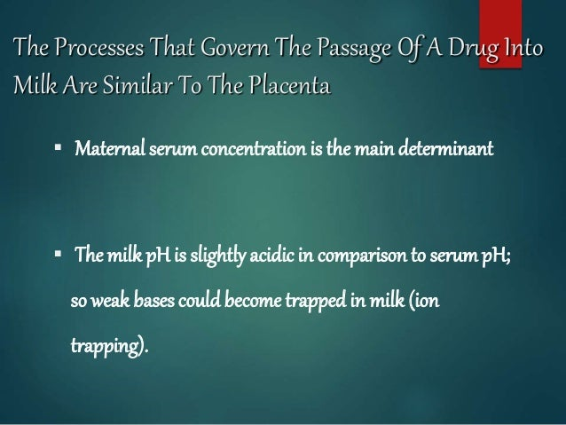 The Processes That Govern The Passage Of A Drug Into Milk Are Similar To The Placenta  Maternal serumconcentration is the...