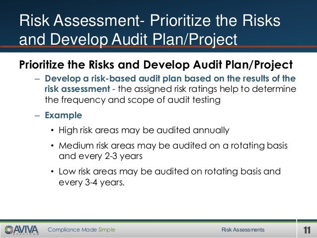 11Compliance Made Simple Risk Assessments Risk Assessment- Prioritize the Risks and Develop Audit Plan/Project Prioritize ...