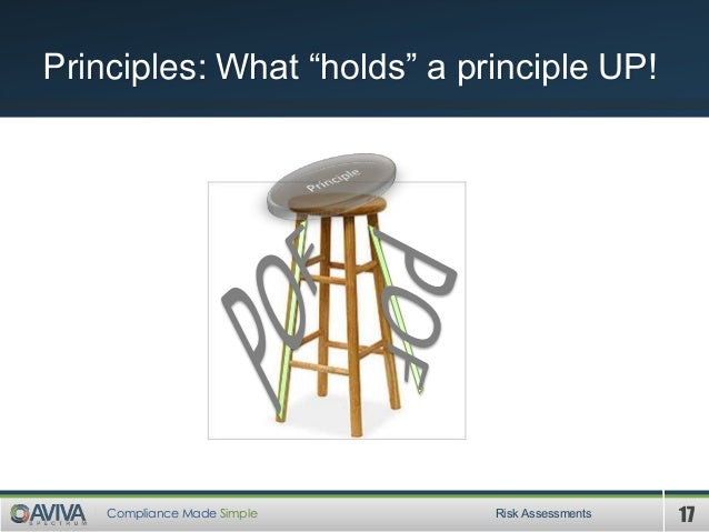 """17Compliance Made Simple Principles: What """"holds"""" a principle UP! Risk Assessments"""