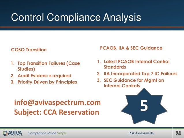 24Compliance Made Simple Control Compliance Analysis Risk Assessments COSO Transition 1. Top Transition Failures (Case Stu...