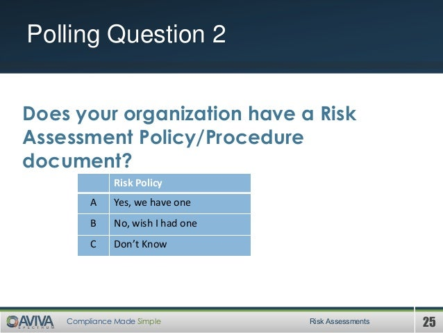 25Compliance Made Simple Polling Question 2 Risk Assessments Does your organization have a Risk Assessment Policy/Procedur...