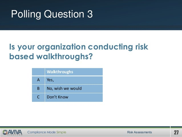 27Compliance Made Simple Polling Question 3 Risk Assessments Is your organization conducting risk based walkthroughs? Walk...