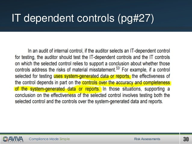 30Compliance Made Simple IT dependent controls (pg#27) Risk Assessments