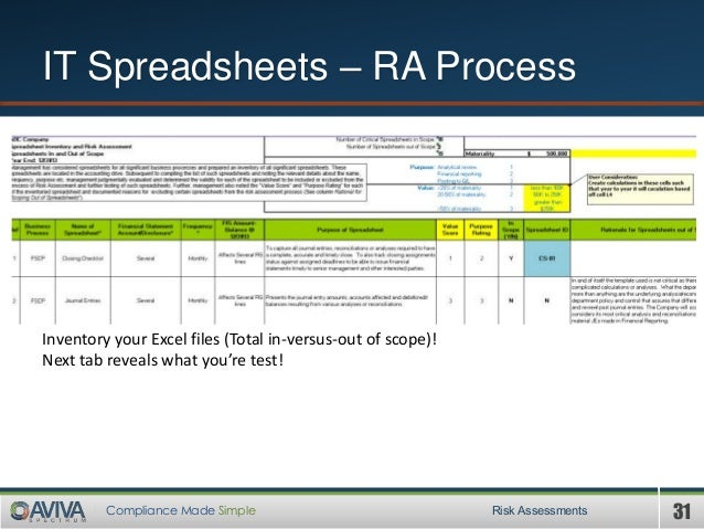 31Compliance Made Simple IT Spreadsheets – RA Process Risk Assessments Inventory your Excel files (Total in-versus-out of ...